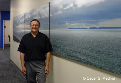 """Oscar at the installation of """"Yellow Storm""""."""